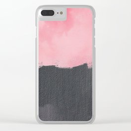 Two color abstract - pink, gray Clear iPhone Case