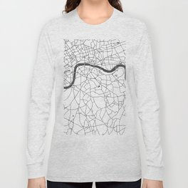 London White on Gray Street Map Long Sleeve T-shirt