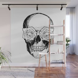 Skull and Roses | Skull and Flowers | Vintage Skull | Black and White | Wall Mural