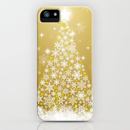Gold Snowflakes Sparkling Christmas Tree iPhone Case