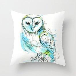 Aqua Tyto Owl Throw Pillow