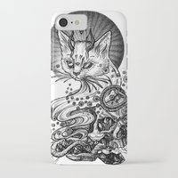 satan iPhone & iPod Cases featuring Satan cat by Yulia Hochulia