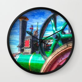 Clayton and Shuttleworth Traction Engine Art Wall Clock