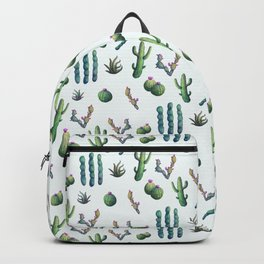 Lush  // Watercolour cacti painting pattern Backpack