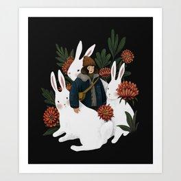 The rabbit garden Art Print