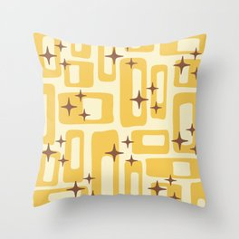 Retro Mid Century Modern Abstract Pattern 577 Yellow Brown Throw Pillow