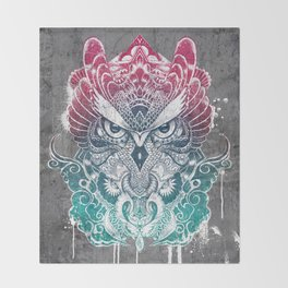 Owl and dragon colored Throw Blanket