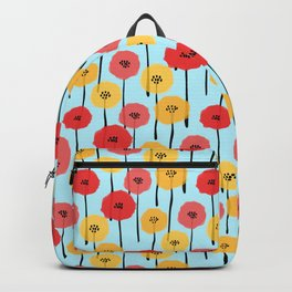 Bright Sunny Mod Poppy Flower Pattern Backpack