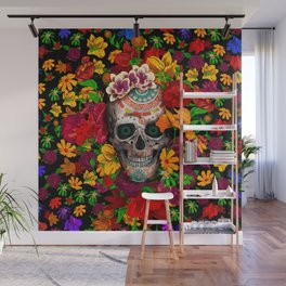 Day of the dead sugar skull flower Wall Mural