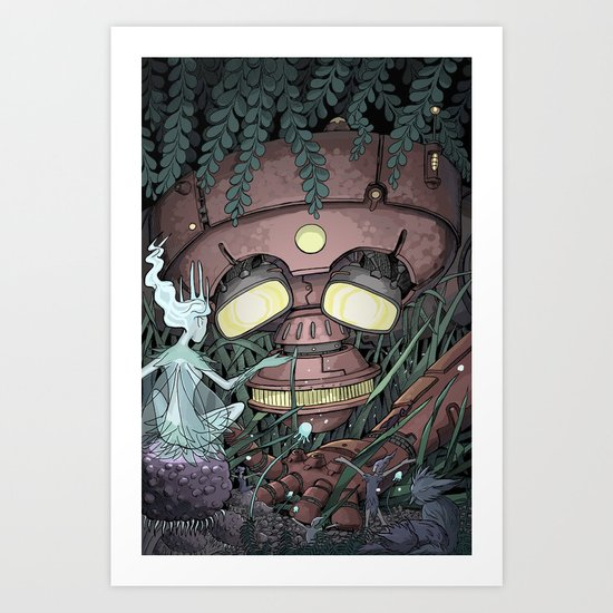 The Robot and the Fairies Art Print