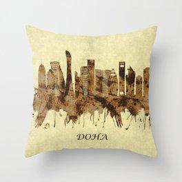 Doha Qatar Cityscape Throw Pillow