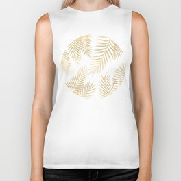 Gold palm leaves Biker Tank