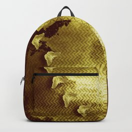 gold butterflies and abstract landscape Backpack