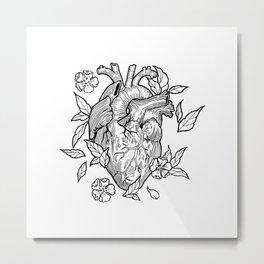 heart black white Metal Print