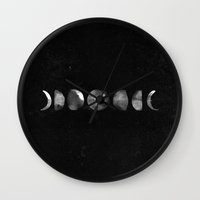 moon phases Wall Clocks featuring Moon Phases by Hey Instigator!