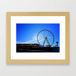 The Great Wheel in Seattle on a Blue Sky Day Framed Art Print