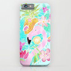 Tropical summer watercolor flamingo floral pineapple iPhone 6s Slim Case