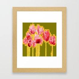PINK-RED MODERN TULIP FLOWERS KHAKI GREEN ART Framed Art Print