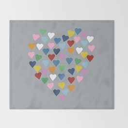 Hearts Heart Multi Grey Throw Blanket
