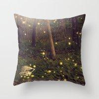 fireflies Throw Pillows featuring Fireflies by Maureen Anne