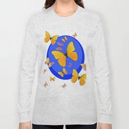 YELLOW BUTTERFLIES SWARM & BLUE RING MODERN ART Long Sleeve T-shirt