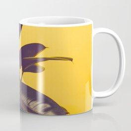Mid Century Modern Yellow Background Color Pop Minimalist Plant Leaves Coffee Mug