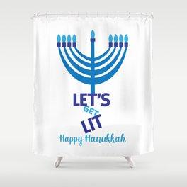 Let's get Lit Hanukkah Shower Curtain