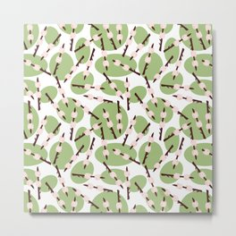 Marshmallows on a stick on a white background with green dots. Campfire food. Summer camp print. Metal Print