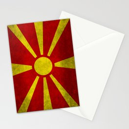 """Flag of Macedonia in """"Super Grunge"""" Stationery Cards"""
