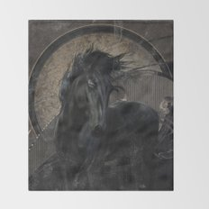 Gothic Friesian Horse Throw Blanket
