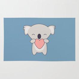 Kawaii Cute Koala With Heart Rug