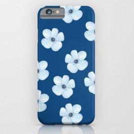 Blue Watercolor Flower Pattern iPhone Case