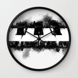 Piano Keyboard Close Up Black and White Watercolor Ink Splatter Wall Clock