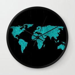 Teal Cyan Metallic Foil Map on Black Wall Clock