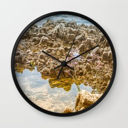 Beautiful rocky beach with lonely flower in Istria, Croatia Wall Clock