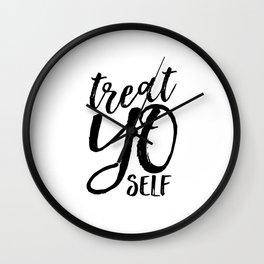 PRINTABLE Art,Treat Yo Self,Inspirational Quote,Kitchen Decor,Motivational Poster,Printable Aleks Wall Clock