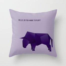 Do You Want to Play? - Origami Purple Bull Throw Pillow