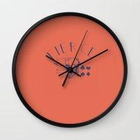 fierce Wall Clocks featuring Fierce by Roxana C.