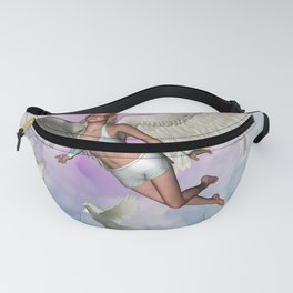 Beautiful fairy with dove flying in the sky Fanny Pack
