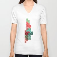 periodic table V-neck T-shirts featuring Periodic Manhattan by VIGILISM