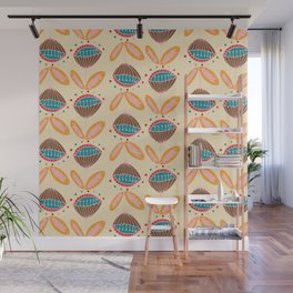 Mid Century Beige Floral Pattern Wall Mural