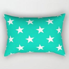 Turquoise X White Polka Stars Rectangular Pillow