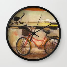 Old Red Bicycle And Cat In Village Wall Clock