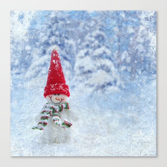 Red Cute Snowman frozen freeze Canvas Print