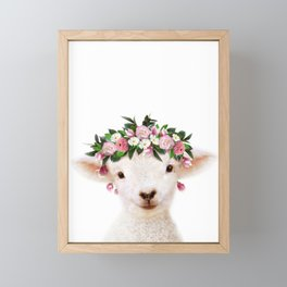Baby Lamb With Flower Crown, Baby Animals Art Print By Synplus Framed Mini Art Print