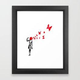 gun and butterflies banksy Framed Art Print