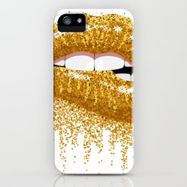 GOLD--LIPS iPhone Case