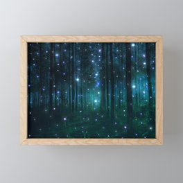 Glowing Space Woods Framed Mini Art Print