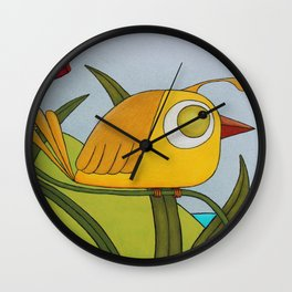 Yellow Wren Quail Wall Clock