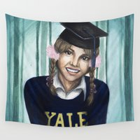 britney Wall Tapestries featuring Britney: The Yale Grad by Nicole A. Fleming